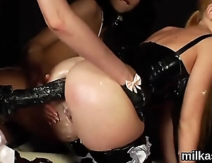 Extraordinary lesbians fill up their huge bums with cream and squirt it out