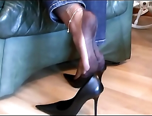 German MILF Mistress - Slave revere her high heels and nylon feet / with cumshot on her nylon soles - watch more on SweetNylonFeet.com