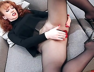 Redhead RED XXX Matchless Play In Nylons And Lingerie