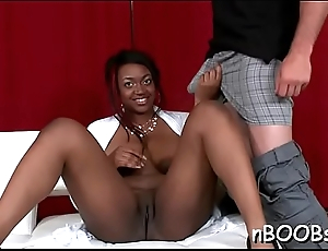 Hawt chocolate babe with large tits gets fucked on all fours