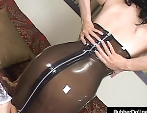 Hot Busty RubberDoll Dildo Fucks In See Thru Latex &amp_ Heels!