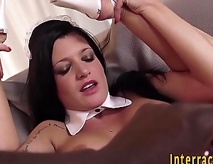 Maid interracially toyed