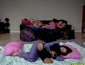 A Slumber party with turn daddy horseshit plunging two teen pussies!