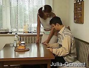 Pretty couple fucks in the living room