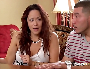 Hot bisexual couple meets and greets other swingers before party