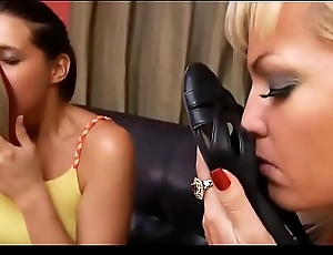 Lesbian foot fetish - 2 girls sniffing their stinky nylon feet and worn flats in the lobby - watch more @ SweetNylonFeet.com