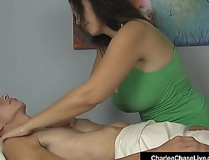 Busty Milf Charlee Hunt Double Strokes A Client'_s Hard Cock