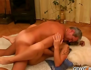 Stunning old and young action with sexy babe wreckage daddy