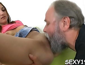Babe is having wild threesome with stud and elderly teacher