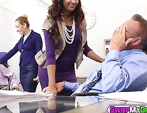 Teen babes have steamy group sex with mature hunks in office