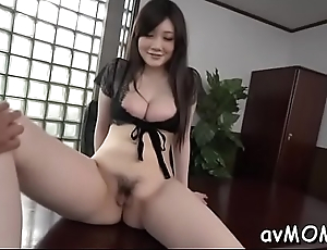 Moaning asian milf with sextoy pampers will not hear of fat pussy making it wet