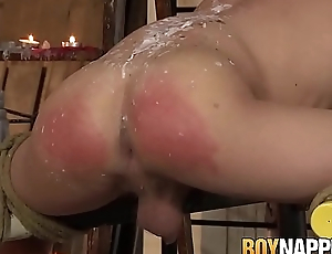 Filial twink roughly fucked and disciplined with wax