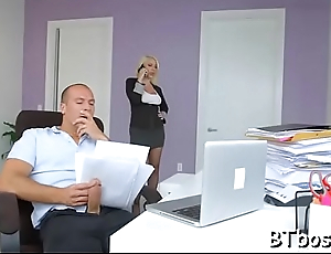 Sexy boss lady gives a hot blowjob and gets a mouthful goo