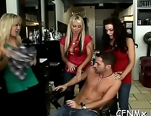 Astounding cfnm act with a hot babe pleasuring dude with toy