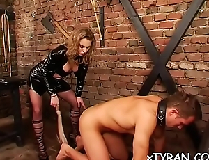 Elegant dominatrix live out her charm fucking maid with toy
