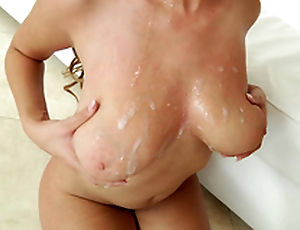 Busty ebony Cassidy Banks gets spermload on her broad in the beam unpretentious tits
