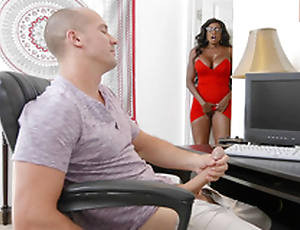 Diamond Jackson caught her stepson masturbating and started masturbating too