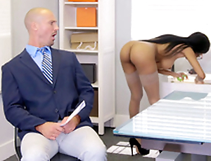Brittney White gets on the phone with her employee's wife in the long run b for a long time seducing him