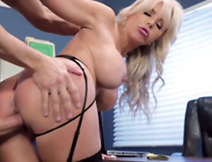 Nina Elle - The boss' Miserable wife gets a load of jizz served in her cunt