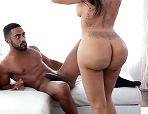 Excited Latina Lela Star with tattooed back craves for a big black dick