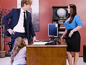 Lena Paul in office threesome with two bosses and a sexy staff member