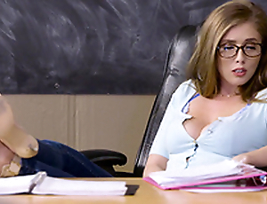 Lena Paul is a cute babe with glasses involved in a cock