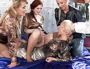 Blonde Adel Sunshine dominated by four XXX hotties who pee heavens her