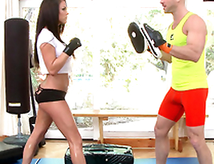 Peta Jensen surprises the fitness coach pouring XXX fruits with water