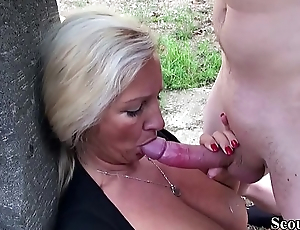 German Mother Caught Mandate Son and Helps with Fuck in Garden