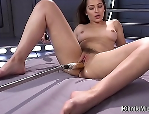 Hairy twat brunette fucks machine
