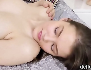 Lovely nympho opens up juicy slit and gets deflorated