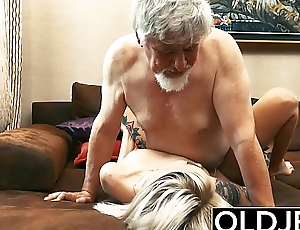 Tattooed hooker fucked by old suppliant she swallows his cum
