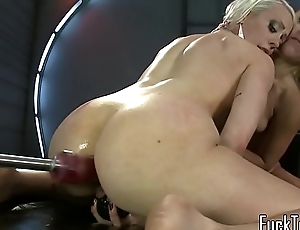 Sybian riding infant drilled hard by machine