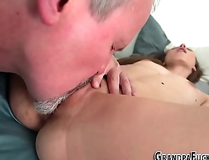 Teen rides gramps for cum
